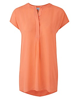 Orange Sleeveless Pleat Front Blouse