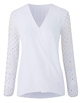 White Foil Print Wrap Shirt