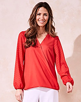 Red Foil Print Sleeve Wrap Shirt