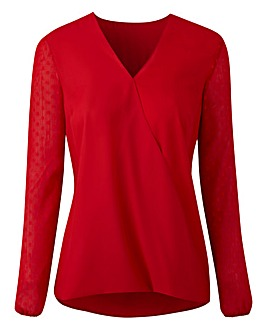 Red Dobby Sleeve Wrap Shirt