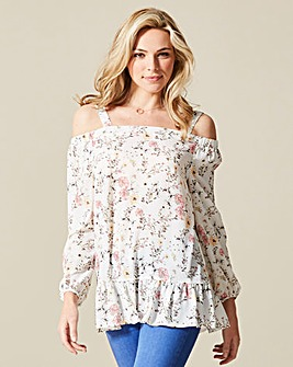Floral Cold Shoulder Top with 3/4 Sleeve