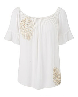 Ivory Embroidered Crinkle Gypsy Top