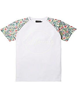 Label J Floral Sleeves White Logo Tee