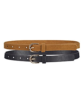 Black and Tan Pack of 2 Jeans Belt