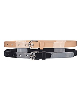 Black and Nude Pack of 2 Jeans Belt