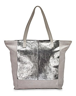 Suede Metallic Silver Shopper Bag