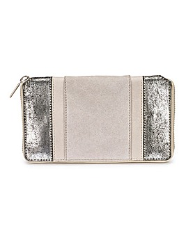 Suede and Leather Metallic Silver Purse