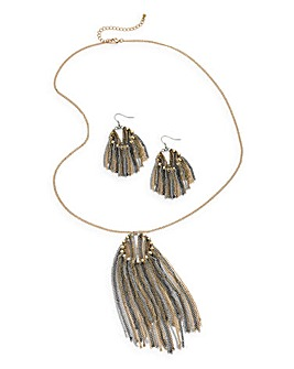 Fringed Necklace & Earings Set
