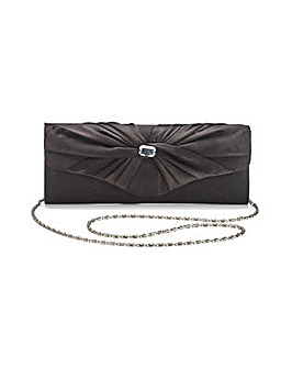 Satin Roll Top Diamante Clutch Bag