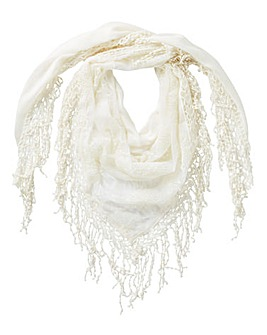 Ivory Embroidered Mesh Scarf