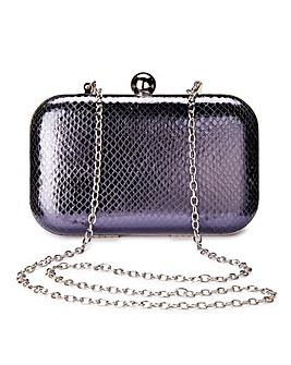 Alice Navy Snake Clutch Bag
