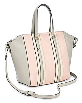 Striped Tote Bag With Shoulder Strap