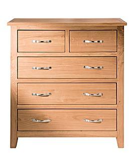 Harrogate Oak Veneer 3 +2 Drawer Chest