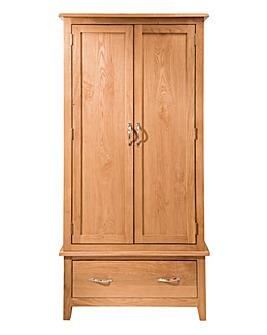 Harrogate Oak 2 Door 1 Drawer Wardrobe