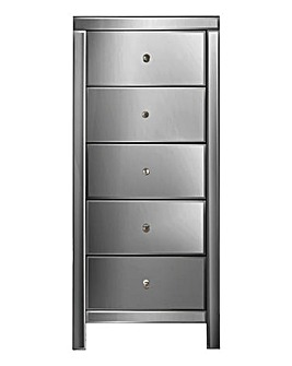 Venice Mirrored 5 Drawer Narrow Chest