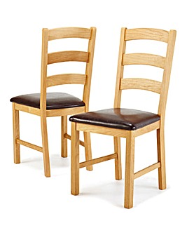 Harrogate Oak Pair of Dining Chairs
