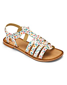 Girls Flower Print Sandals Standard Fit