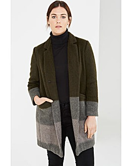 Elvi Striped Wool Blend Coat