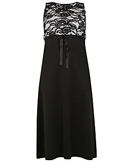 Feverfish Lace Contrast Maxi Dress