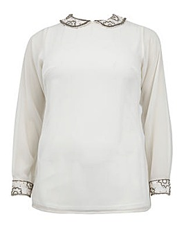 Koko Sequin Lace Collar & Cuff Top