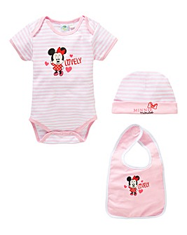 Minnie Mouse Baby Bodysuit Bib and Hat S
