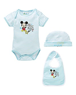 Mickey Mouse Baby Bodysuit Bib and Hat S