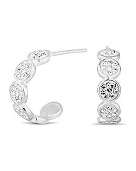 Simply Silver pave hoop stud earring