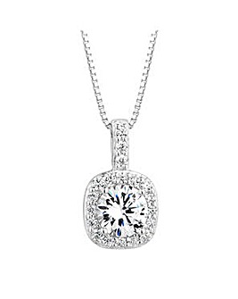 Simply Silver pave pendant necklace