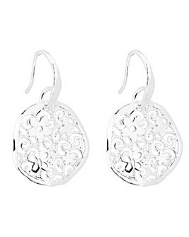Simply Silver floral disc earring