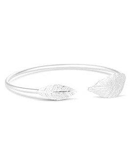 Simply Silver textured leaf cuff bangle