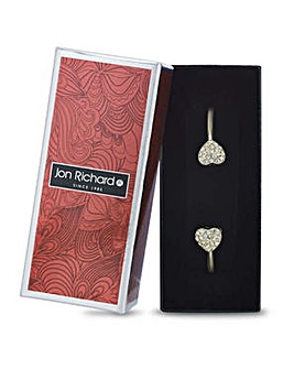 Jon Richard gold open heart pave bangle