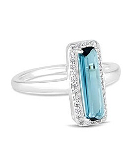 Simply Silver blue rectangle ring
