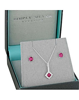 Simply Silver square jewellery set