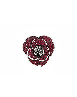 Rhodium plated crystal Poppy brooch