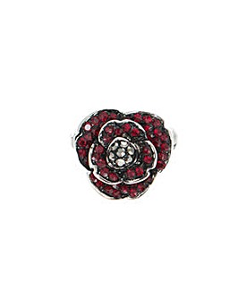 Rhodium plated crystal Poppy lapel