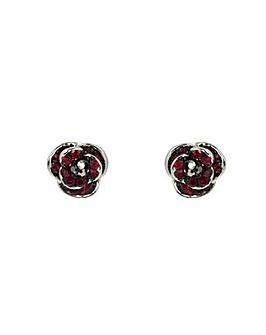 Rhodium plated crystal Poppy earrings