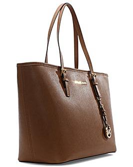 Michael Kors Tan Top-Zip Tote Bag