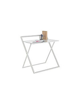 Compact Folding Easy Clean Desk - White.