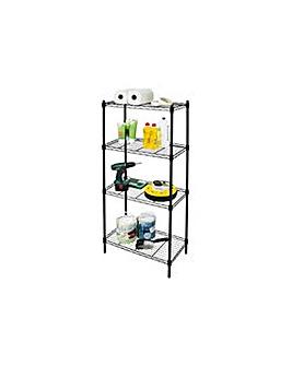 4 Tier Black Powder Coated Wire Shelving