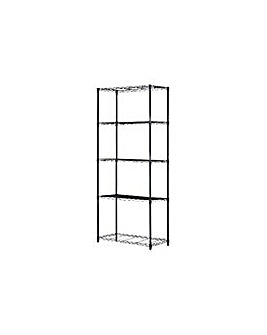 5 Tier Black Powder Coated Wire Shelving