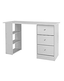 HOME New Malibu 3 Drawer Desk - White.