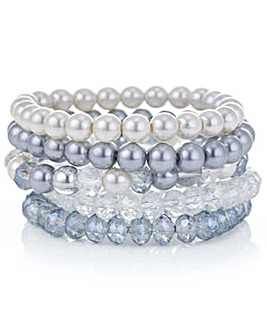 Mood blue pearl multi bracelet set
