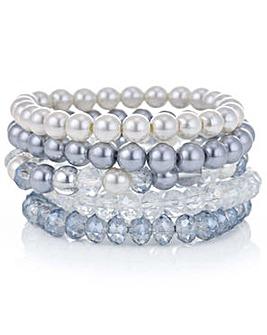 Mood blue pearl multi bracelet set