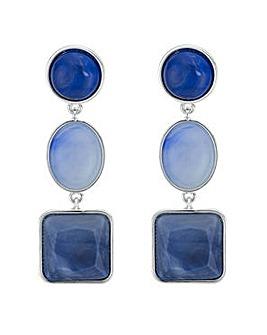 Mood blue tonal mixed shape earring