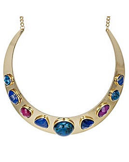 Mood crystal gem collar necklace
