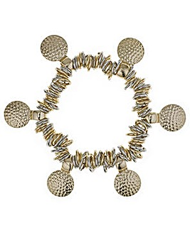 Mood textured gold disc bracelet
