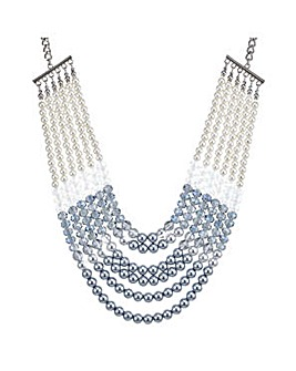 Mood blue pearl multi row necklace