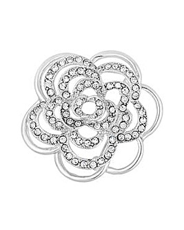 Mood crystal floral pave brooch