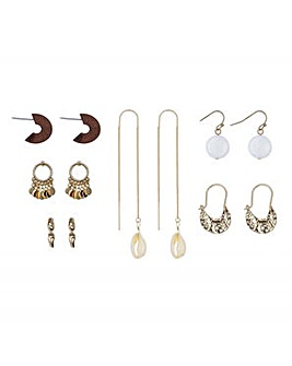 Mood gold shell mixed shape earring pack