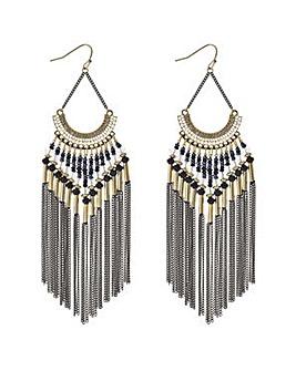 Mood tonal bead and tassel earring